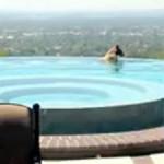 Oso nadando en piscina